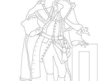 Benjamin Franklin Coloring Book, Line Art Drawings