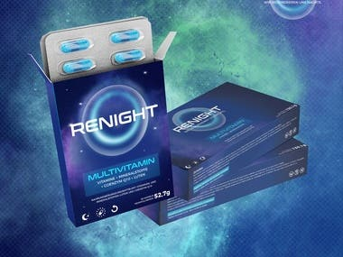 Renight logo and packaging design