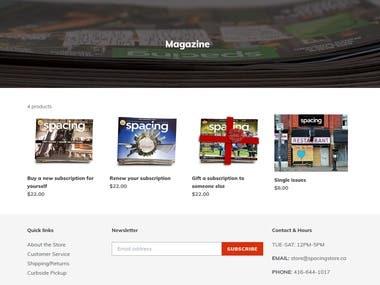 Shopify website.