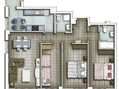 2D Floor Plan Drawings Residential House