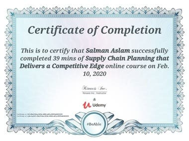 Certificate of Supply Chain Planning