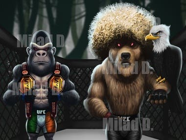 Digital painting of characters UFC