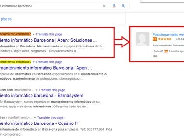 Successful bring google first page in #Google.es
