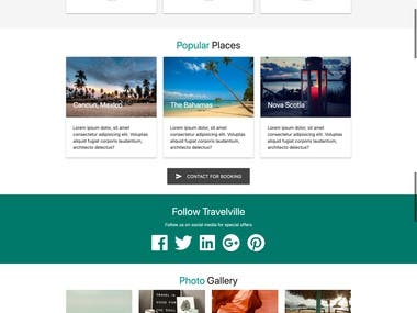 Responsive site material UI template for travel agency