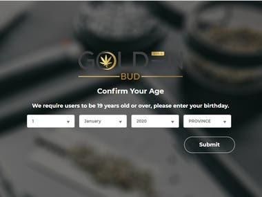 Age and location verification popup