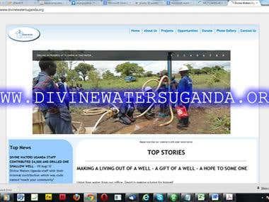 Website for Divine Waters Uganda