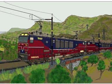 Computer and Photoshop Creative work - Indian Railways Locos