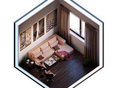 Isometric Interior Design/Living Room with Aquarium ( UE4 )