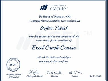 Excel Crash Course Certificate