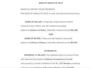 Deed of absolute sale