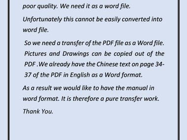 Transfer of pdf to word
