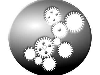 Gears Cut out of Gear in metallic silver