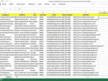Some data enrty work sample