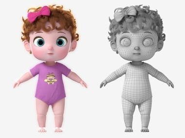 3D model Cartoon Twin Baby Rigged