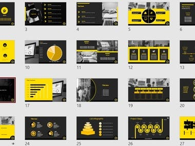 Powerpoint template yellow and black.