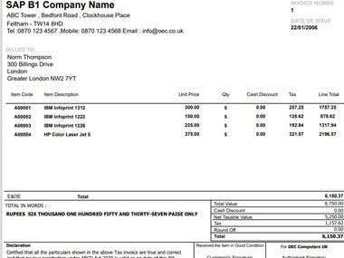 SAP Business One Print Layouts and Reports in Crystal Report