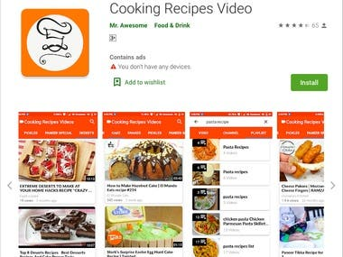 Cooking Recipes Video (Mobile App)