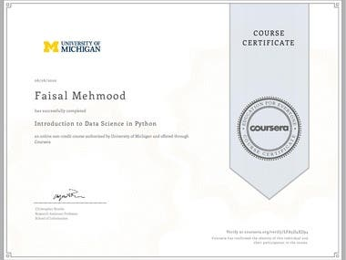 Course on Introduction to Data Science with Python