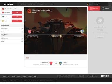 Unikrn e-Sports Dashboard