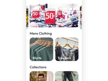 Ecommerce home screen