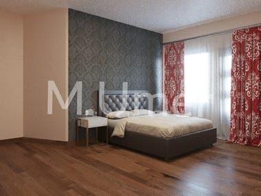 3D Realistic Bed Room Rendering