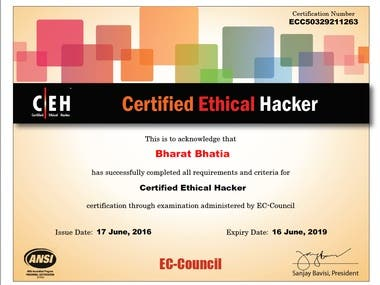 Certified Ethical Hacker since 2016