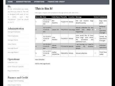 Intranet for Bin It Services