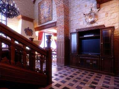 Interior rendering / Private Residence Gothic Castle