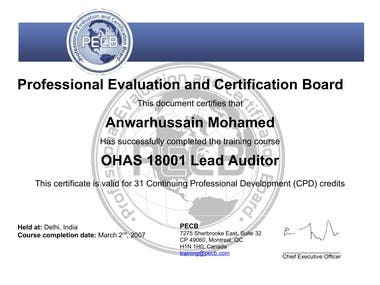 OHAS 18001- Lead Auditor Certification