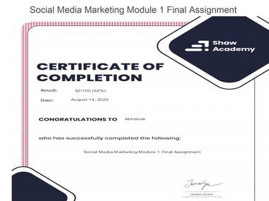 certificate of diploma in SMM