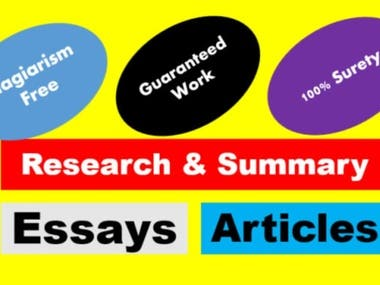 I write essays, articles and help you with research worK