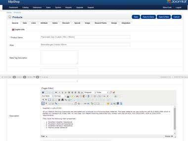 MijoShop Joomla Shopping cart Product Upload