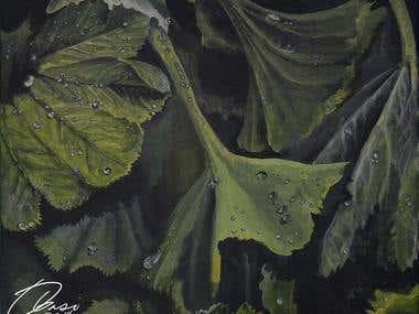 Acrylic Leaf Painting