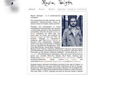 Netherland composer Maxim Shalygin official website. http://