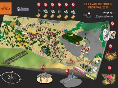 isometric map for outdoor festival