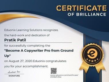 Certificate of Becoming Pro Copywriter