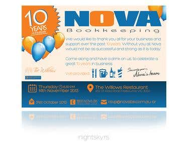 NOVA Bookkeepers - 10th anniversary invitation
