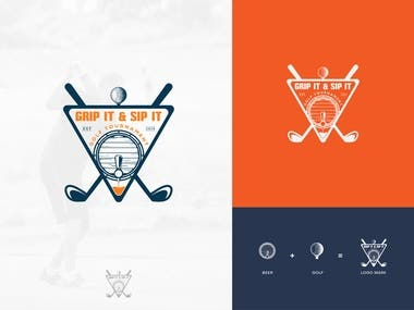 """I need a logo designed for the """"Grip It & Sip It Golf Tourn:"""