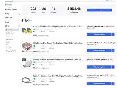 Product Listing fulfilment