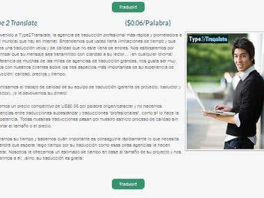 Type 2 Translate Spanish Site Page
