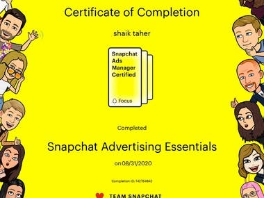 Snap Chat Ads Certificate