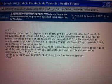 Edicto del Ayuntamiento de Sollana