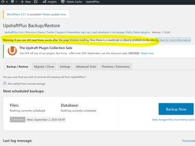 Fix JS issue for Updraft backup plugin
