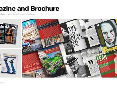 Magazine covers and magazine layout made for various clients