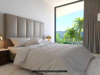 Bedroom in a private villa. Grenada.