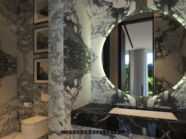 Guest bathroom in a private house. Saudi Arabia.
