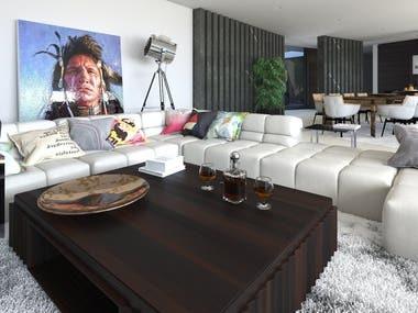 Living room in modern villa. Grenada.
