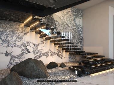 Stairs in a private villa. Saudi Arabia.