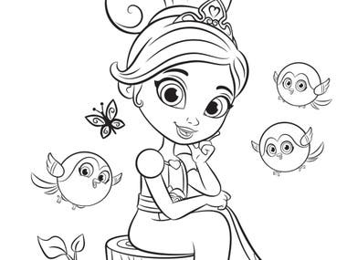 Line art Illustrations design on story baord