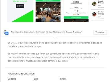 OyeMenu Spainish Ionic App development
